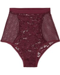 Else - Cutout Corded Lace And Stretch-mesh High-rise Briefs Grape - Lyst