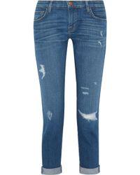 Current/Elliott - The Fling Distressed Slim Boyfriend Jeans - Lyst