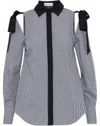 Rebecca Vallance - Cold-shoulder Gingham Cotton-poplin Shirt - Lyst