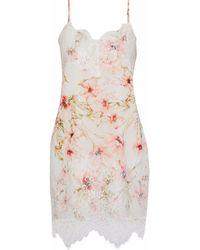 Haute Hippie - Lace-paneled Floral-print Crepe De Chine Mini Dress - Lyst
