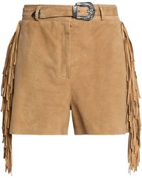 Maje - Belted Fringed Suede Shorts - Lyst