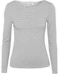 FRAME - Striped Stretch Modal-blend Jersey Top - Lyst