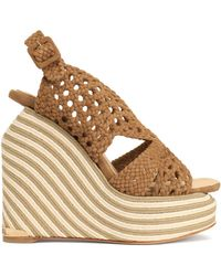 Paloma Barceló - Woven Suede Espadrille Wedge Sandals Light Brown - Lyst