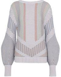 Peter Pilotto - Crochet-knit Cotton-blend Jumper Light Grey - Lyst