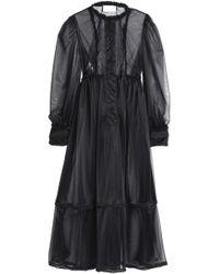 Maison Margiela - Satin-trimmed Pintucked Organza Maxi Dress - Lyst