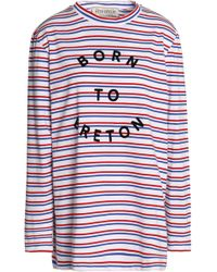 Être Cécile - Flocked Striped Cotton-jersey Top - Lyst