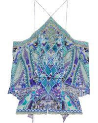 Camilla - Cold-shoulder Crystal-embellished Printed Silk Crepe De Chine Playsuit - Lyst