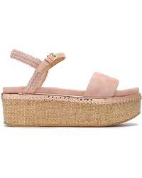 Stuart Weitzman - Your Way Braid-trimmed Suede Platform Sandals Pastel Pink - Lyst