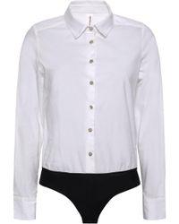 Commando Stretch-cotton Poplin Bodysuit White