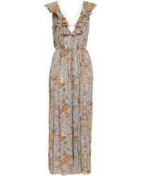 Zimmermann - Woman Ruffled Printed Silk-georgette Jumpsuit Light Blue - Lyst
