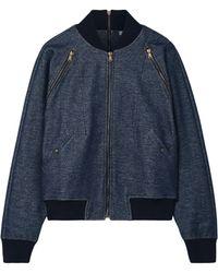 Tomas Maier - Woman Zip-detailed Stretch-cotton Bomber Jacket Dark Denim - Lyst