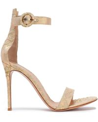 Gianvito Rossi - Fatale Metallic Lace Sandals - Lyst