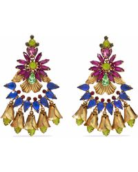 Elizabeth Cole - Woman 24-karat Gold-plated, Swarovski Crystal And Stone Earrings Multicolor - Lyst