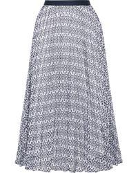 Oscar de la Renta - Pleated Broderie Anglaise Cotton-blend Skirt - Lyst
