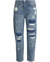 FRAME - Distressed Mid-rise Boyfriend Jeans - Lyst