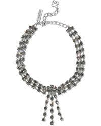 Oscar de la Renta - Silver-tone Crystal Necklace - Lyst