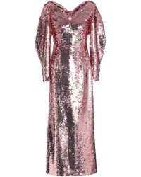 Emilia Wickstead - Woman Bow-embellished Sequined Tulle Gown Rose Gold - Lyst