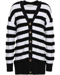 MICHAEL Michael Kors - Woman Striped Merino Wool-blend Cardigan White - Lyst