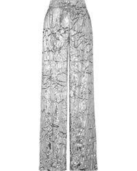 Delpozo - Metallic Crushed Velvet Pants - Lyst