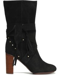 be75e6210b35 See By Chloé - See By Chloé Woman Fringe-trimmed Studded Suede Boots Black -