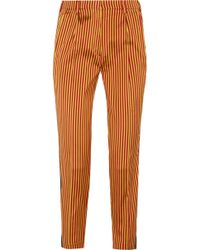 Etro - Striped Silk Straight-leg Pants - Lyst