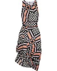 Vivienne Westwood Anglomania - Asymmetric Gathered Printed Cotton Midi Dress - Lyst