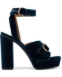 f968514ce93 Chloé - Chloé Woman Kingsley Buckled Velvet Platform Sandals Storm Blue -  Lyst