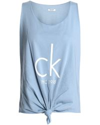 Calvin Klein - Knotted Printed Cotton-blend Jersey Tank - Lyst