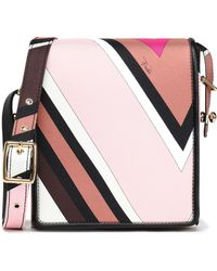 Emilio Pucci - Leather-trimmed Printed Twill Shoulder Bag Baby Pink - Lyst
