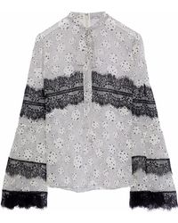 Giambattista Valli - Woman Pussy-bow Lace-trimmed Printed Silk-chiffon Blouse Off-white - Lyst