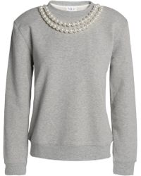 Claudie Pierlot - Faux Pearl-embellished Cotton-blend Sweatshirt Light Gray - Lyst