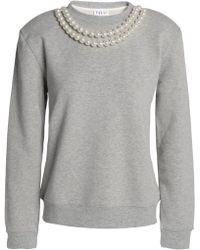 Claudie Pierlot - Faux Pearl-embellished Cotton-blend Sweatshirt - Lyst