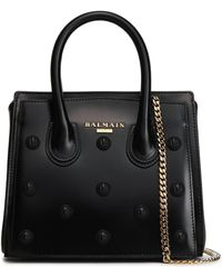 Balmain - Woman Studded Glossed-leather Tote Black - Lyst