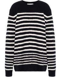 Vince - Striped Wool-blend Sweater Midnight Blue - Lyst