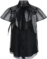 Marc Jacobs - Woman Pussy-bow Flocked Tulle Top Black - Lyst