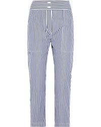 Adam Lippes - Cropped Striped Cotton Slim-leg Pants - Lyst