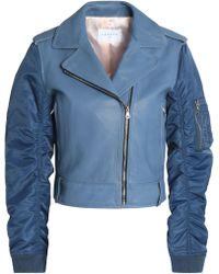 Sandro - Ruched Shell-paneled Leather Biker Jacket Light Blue - Lyst