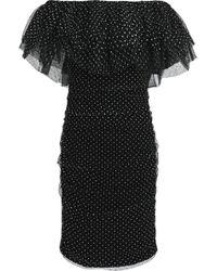 Maje - Ravane Off-the-shoulder Flocked Tulle Mini Dress - Lyst