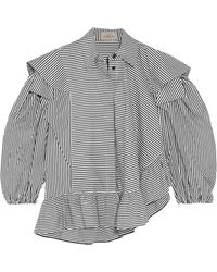 Preen By Thornton Bregazzi - Sinead Ruffled Striped Cotton-poplin Blouse - Lyst