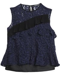 Markus Lupfer - Ruffled Two-tone Lace Top - Lyst