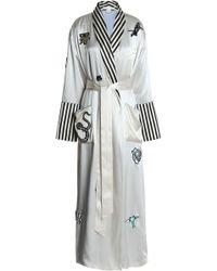Olivia Von Halle - Striped-trimmed Appliquéd Silk-satin Robe - Lyst
