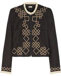 Talitha - Talia Appliquéd Wool-twill Jacket - Lyst