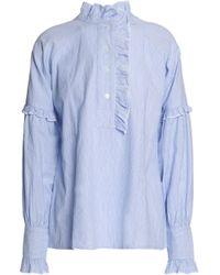 Antik Batik - Ruffle-trimmed Striped Cotton-poplin Shirt - Lyst