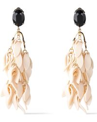 Marni - Woman Silver And Gold-tone, Crystal And Resin Clip Earrings Ivory - Lyst