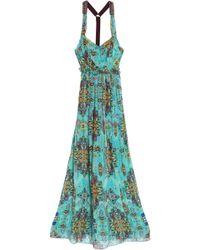 Matthew Williamson - Open-back Embellished Printed Silk-chiffon Maxi Dress Light Green - Lyst
