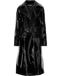 Tom Ford - Woman Patent-leather Trench Coat Black Size 42 - Lyst