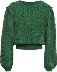 Missoni - Woman Ruffle-trimmed Metallic Crochet-knit Sweater Forest Green - Lyst