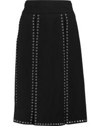Michael Kors - Eyelet-embellished Crepe Midi Skirt - Lyst
