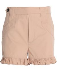 Ganni | Ruffled Cotton-gabardine Shorts | Lyst