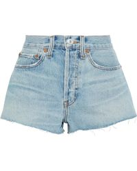 RE/DONE - Distressed Denim Shorts - Lyst
